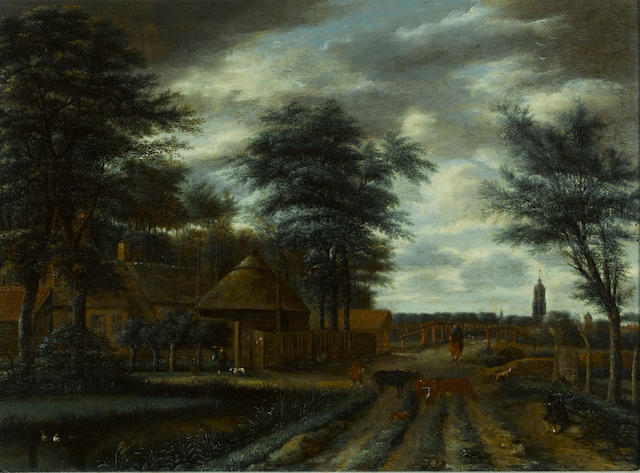 Pieter Jansz. van Asch (Delft 1603-1678) A country lane with a farm and figures and cattle in the foreground 15 3/4 x 21 1/4in