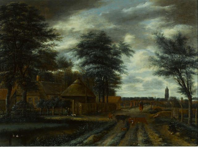 Pieter Jansz. van Asch (Delft 1603-1678) A country lane with a farm and figures and cattle in the foreground 15 3/4 x 21 1/4in (40 x 54cm)