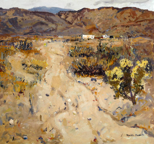 Thomas Lorraine Hunt (American, 1882-1938) Desert road 28 1/2 x 30in