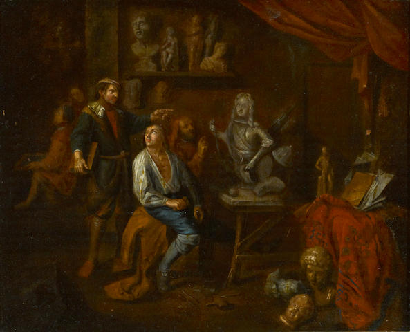 Circle of Gerard Thomas (Flemish, 1663-1720) In the sculptor's studio 19 x 23 1/2in
