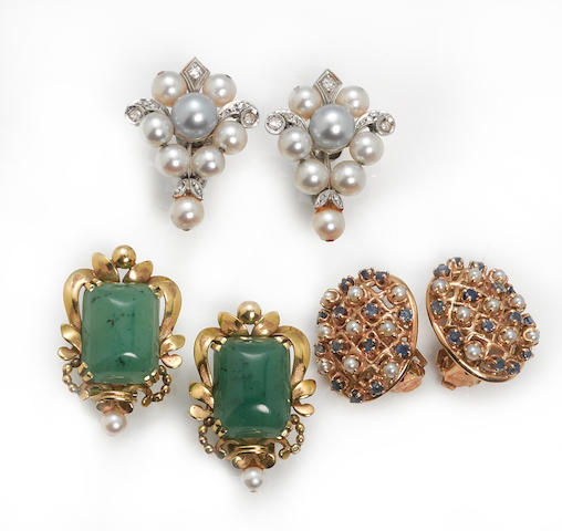 a collection of three pairs of cultured pearl, sapphire, hydrogrossular garnet, diamond, 18k gold, and 14k gold ear clips