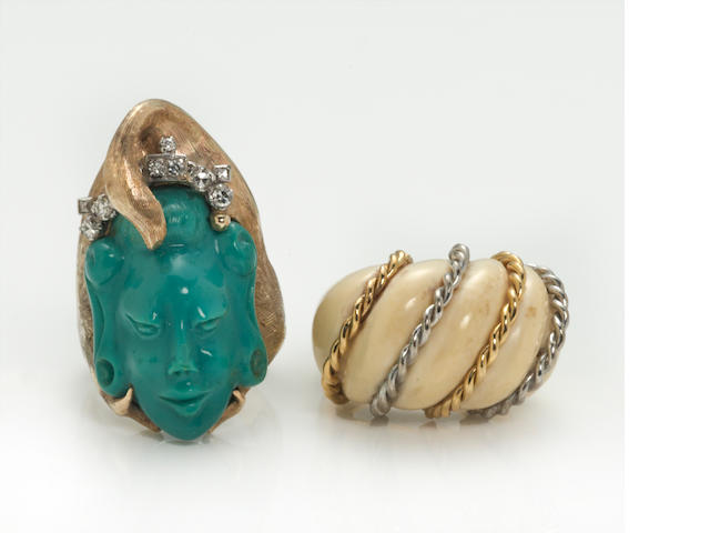 an ivory and 18k bicolor gold ring, together with a composite turquoise, diamond, and 14k gold ring