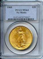 1908 No Motto $20 MS64 PCGS