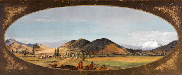 Attributed to Ernest Etienne Narjot (American, 1826-1898) View of Yreka, California oval: 15 1/4 x 39 1/2in