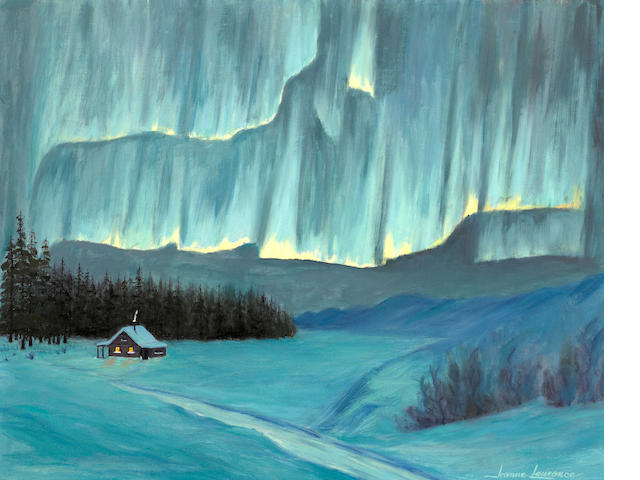 Jeanne Laurence (American, 1887-1980) Northern lights above a cabin in winter 16 x 20in