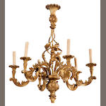 A Rococo style carved giltwood six light chandelier <BR />second half 20th century
