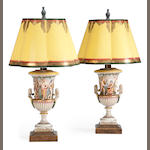 A pair Capodimonte style porcelain urn form table lamps <BR />20th century
