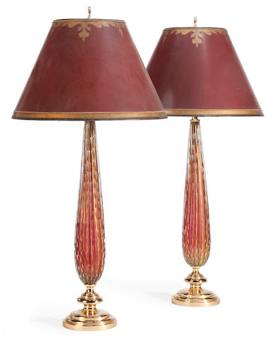 A pair of Italian glass and gilt metal table lamps <BR />probably Murano