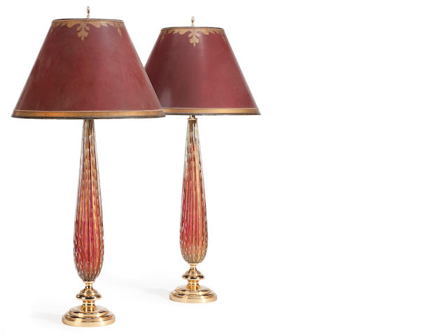 A pair of Murano glass and gilt metal talbe lamps <BR />20th century