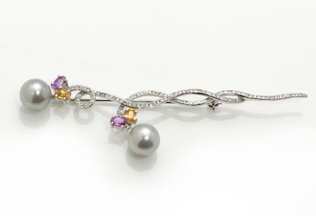 A pearl, multi-color sapphire, diamond and 18k white gold brooch