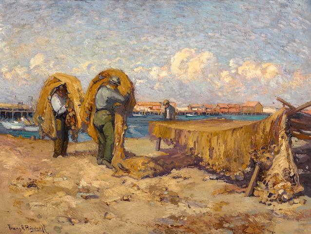 Franz Arthur Bischoff (American, 1864-1929) Mending nets, San Pedro 18 1/4 x 24 1/4in