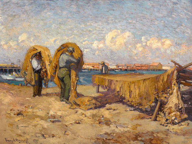 Franz Arthur Bischoff (American, 1864-1929) Mending nets, San Pedro, 1910 18 1/4 x 24 1/4in