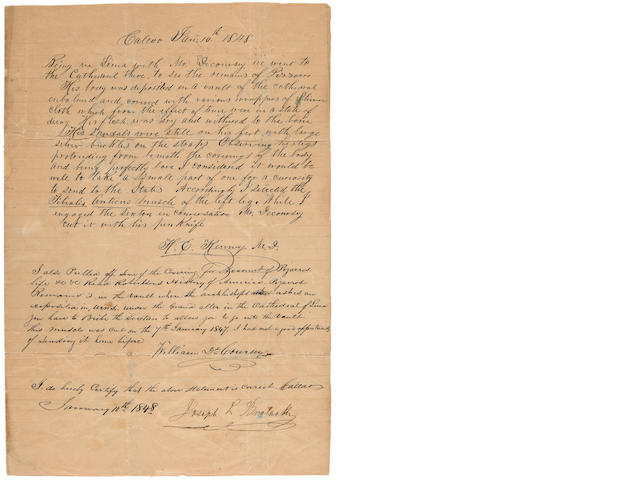 [PIZARRO, HERNANDO] Letter about Pizarro's Remains 1848