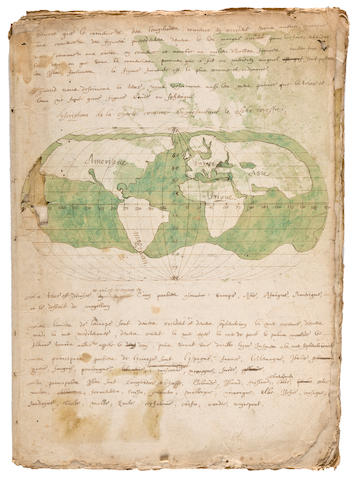MANUSCRIPT GEOGRAPHY OF THE WORLD. [Geographie du Monde].