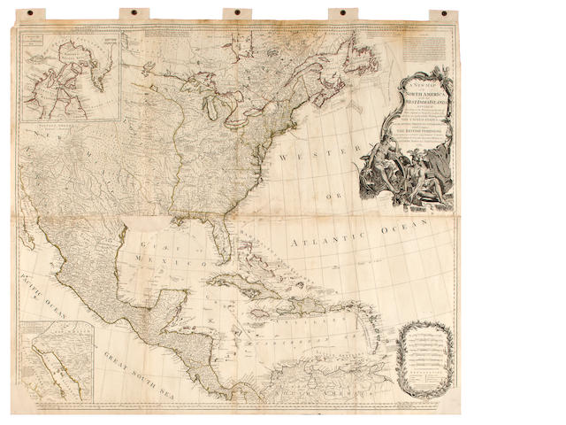 18th century wall map of North America
