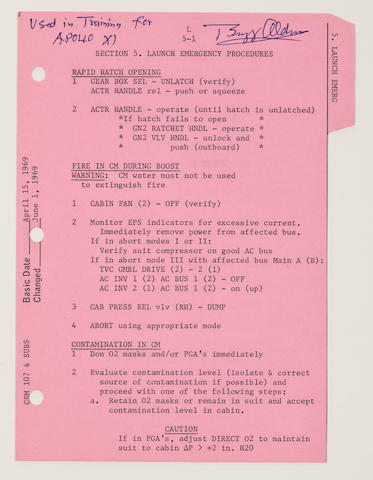ALDRIN'S CREW USED LAUNCH CHECK LIST TRAINING SHEET – LAUNCH EMERGENCY PROCEDURES