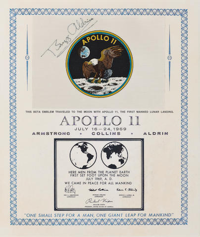 FLOWN ON APOLLO 11—CREW BETA EMBLEM. SIGNED BY ALDRIN, WITH NOTE ON EMBLEM'S MEANING.  Flown Apollo 11 Beta cloth crew emblem,