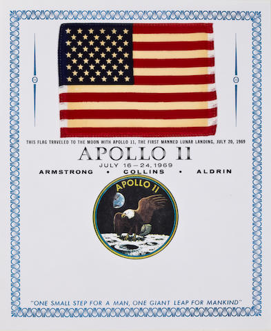 UNITED STATES FLAG CARRIED ON APOLLO 11. Flown United States flag,