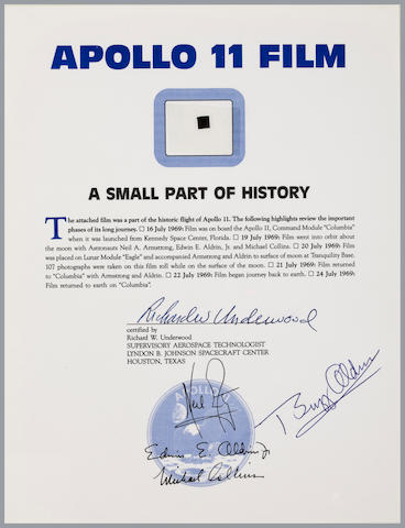 FLOWN APOLLO 11 HASSELBLAD FILM SEGMENT. ¼ by ¼ inch segment of 70mm Hasselblad camera film