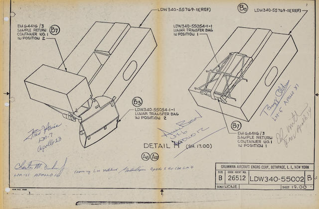 "COOPER'S LUNAR MODULE EQUIPMENT BLUEPRINT—SIGNED. ""Lunar Return Equipment."" Grumman Aircraft Engineering Corp., Bethpage, NY."