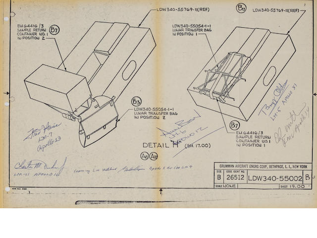 COOPER'S LUNAR MODULE EQUIPMENT BLUEPRINT – SIGNED