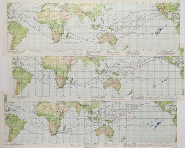 THE START OF A JOURNEY TO THE MOON. Apollo Earth Orbit Chart (AEO). Apollo Mission 11 ... For July 1969 Launch Dates.  Color Earth maps, 3 sheets.  13½ x 41½ inches each.
