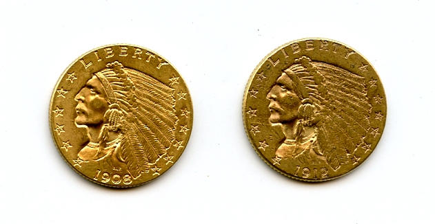 1908 and 1912 $2.5