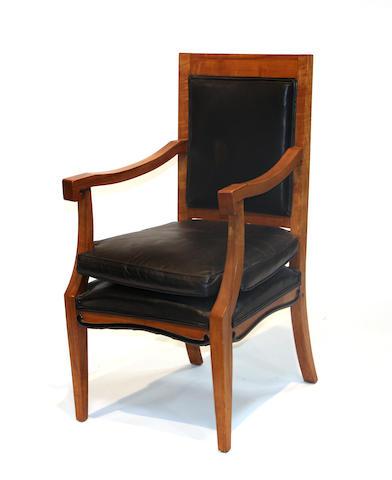 A pair of Biedermeier style birch armchairs