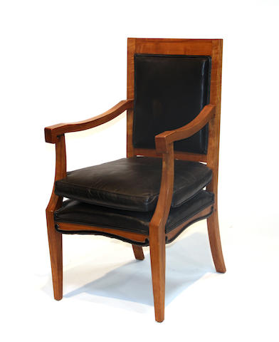 A pair of Biedermeier style birch armchairs