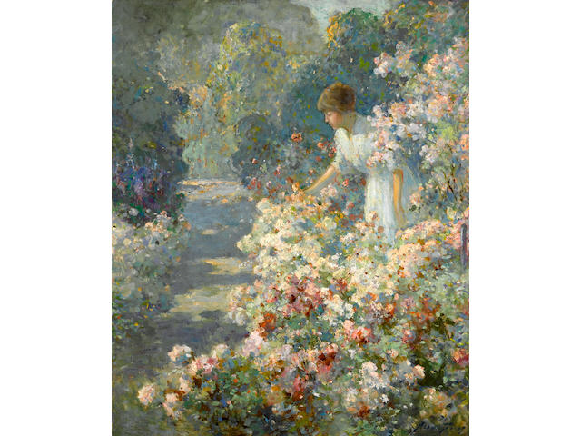 Abbott Fuller Graves (American, 1859-1936) Morning in the garden 24 1/4 x 20in