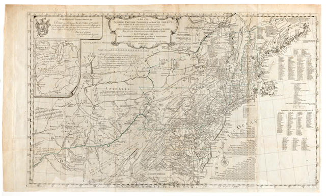 POWNALL, THOMAS and LEWIS EVANS. A Map of the Middle British Colonies in North America. First Published by Mr. Lewis Evans, of Philadelphia, in 1755; and Since Corrected and Improved, as also Extended, with the Addition of New England, and Bordering Parts of Canada.... London: 1776.