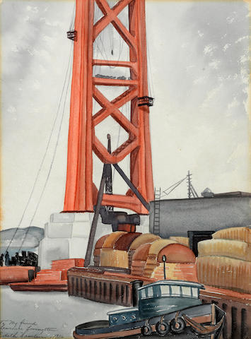 Edith Anne Hamlin (American, 1902-1992) Building the Golden Gate Bridge, 1936; together with an etching of The Golden Gate Bridge; and a woodblock print of the Third Street Bridge, San Francisco (group of three)   first sight: 15 1/2 x 11 1/2in; second sight: 13 3/4 x 8 1/2in; third sight: 6 3/4 x 4 3/4in