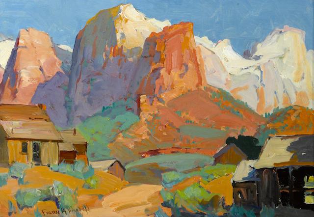 Franz Arthur Bischoff (American, 1864-1929) Utah ranch 13 x 18 3/4in