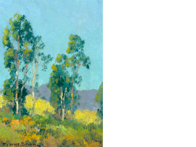 Maurice Braun (American, 1877-1941) Blue skies over California hills 8 x 6 1/4in
