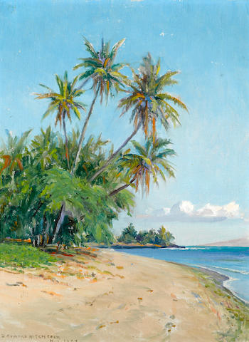 David Howard Hitchcock (American, 1861-1943) Hawaiian beach with palm trees, 1932 16 x 12in