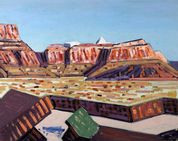 Conrad Buff (American, 1886-1975) Modern mountains, Monument Valley 16 1/2 x 23 3/4in