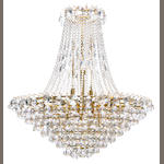 A Neoclassical style gilt metal and cut glass chandelier <BR />20th century