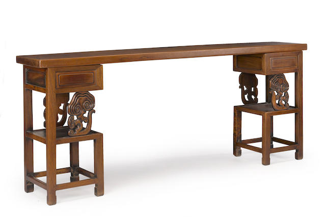 A Chinese three section altar table with ruyi fungus brackets