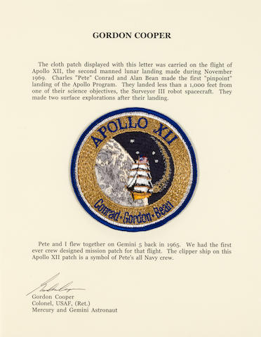 COOPER'S APOLLO 12 CREW EMBLEM CARRIED ON THE FLIGHT – FROM CONRAD