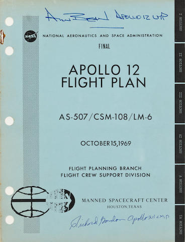 PLAN FOR MAN'S SECOND LUNAR LANDING. Apollo 12 Flight Plan, Final AS-507/CSM-108/LM-6. Houston, TX: NASA/MSC, October 15, 1969. Over 240 pp. 10½ x 8 inches with 4 fold-out sheets. Heavy card stock covers, punched with staple removed.