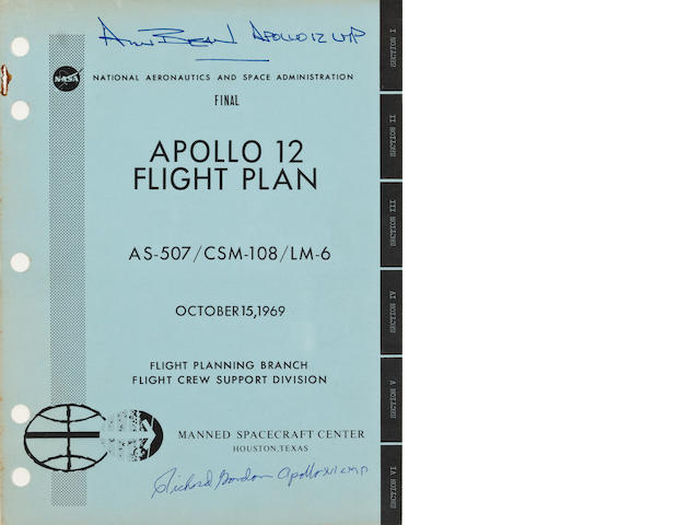 FLIGHT PLAN FOR MAN'S SECOND LUNAR LANDING - SIGNED