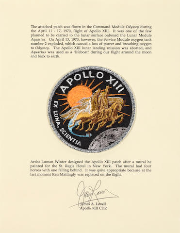 LOVELL'S FLOWN APOLLO 13 EMBLEM.  INTENDED FOR THE LUNAR SURFACE.  Cloth crew mission emblem carried on the flight of Apollo 13 by Commander James Lovell, approximately 4 inches in diameter.