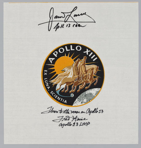 HAISE'S FLOWN BETA CLOTH EMBLEM—SIGNED. Flown Apollo 13 Beta emblem, 4 inches in diameter,