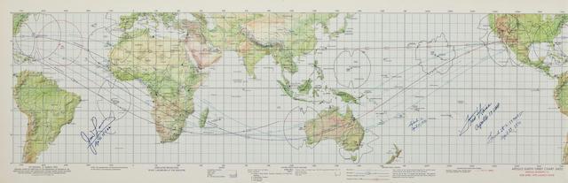 APOLLO 13 EARTH ORBITAL CHART - SIGNED