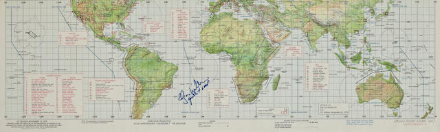 APOLLO 14 EARTH ORBIT PHOTOGRAPHIC TARGET CHART - SIGNED