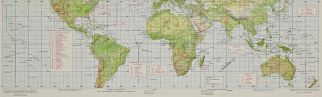 "APOLLO 15 EARTH ORBIT PHOTO TARGET CHART. ""Apollo Flight Chart (AFC), Apollo Mission 15."""
