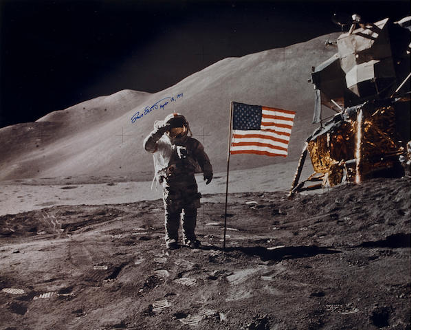 EXPLORATION AT ITS GREATEST!  SCOTT SALUTES THE U. S. FLAG ON THE MOON