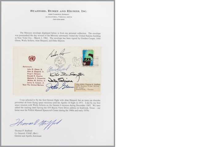 UN POSTAL COVER – SIGNED BY FIVE MERCURY ASTRONAUTS.