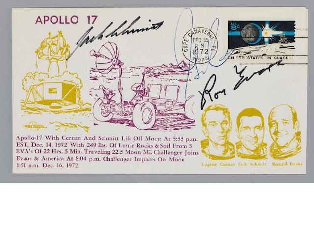LAST LUNAR MODULE LIFT-OFF OF APOLLO POSTAL COVER – CREW SIGNED.