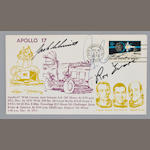 LAST LUNAR MODULE LIFT-OFF OF APOLLO POSTAL COVER – CREW SIGNED.
